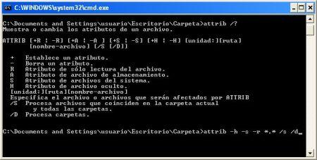 ATTRIB Linea de comandos ms-dos